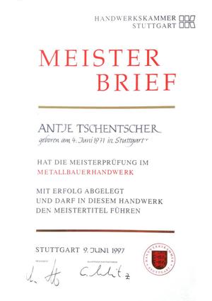 Meisterbrief Antje Tschentscher