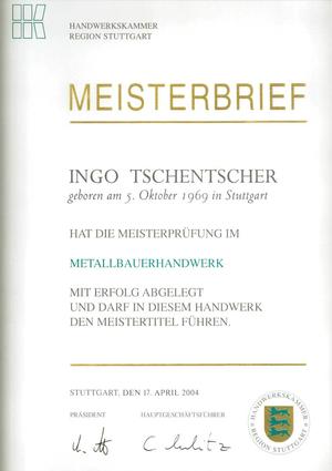 Meisterbrief Ingo Tschentscher